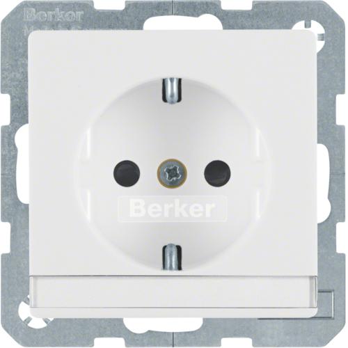 Berker Q.1 stopcontact met randaarde tekstveld en kinderbeveiliging enkel polar