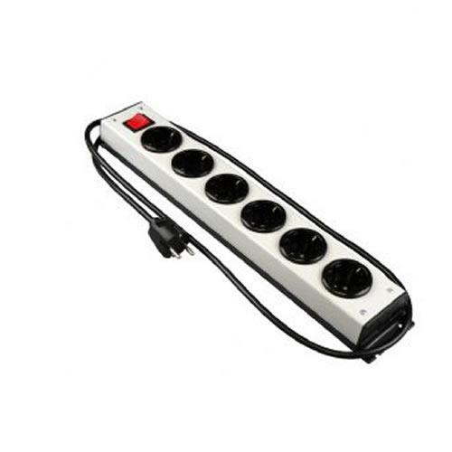 Stekkerblok 6 stopcontacten prof zilverkleurig