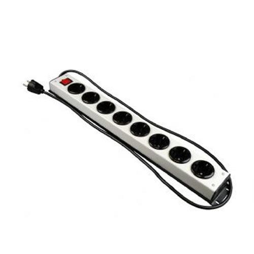 Stekkerblok 8 stopcontacten prof zilverkleurig