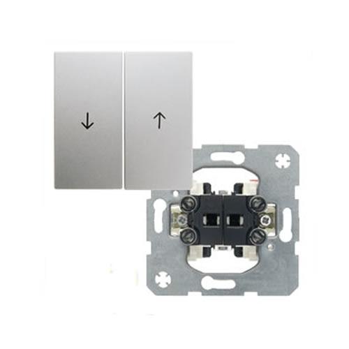 Berker S1 jaloezieschakelaar met drukknop aluminium