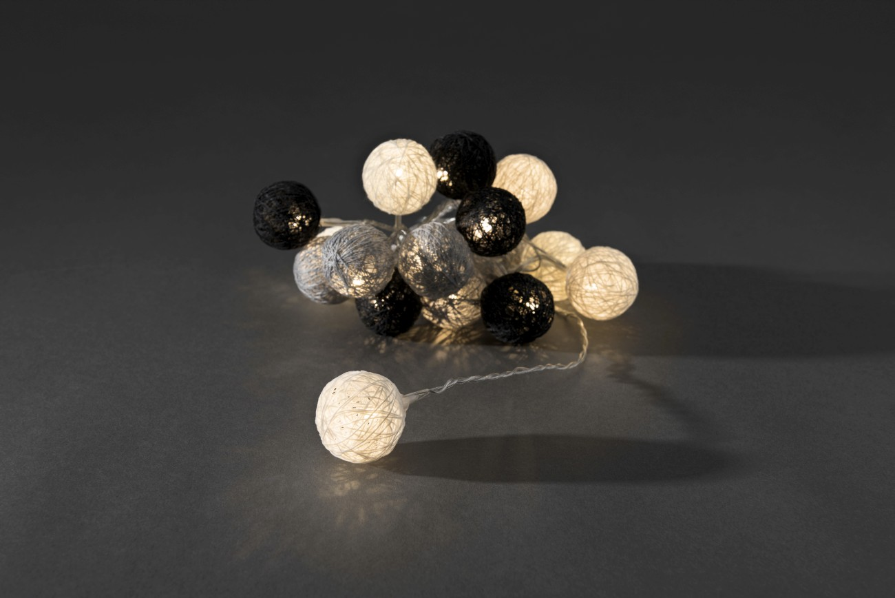 LED decoratieve lichtsnoer textielbollen 3.5cm