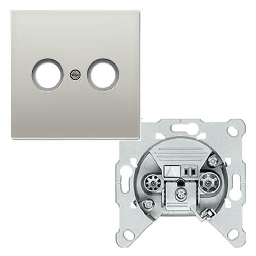 Jung LS990 Aluminium cai eindcontactdoos GEDU10 met inzetplaat