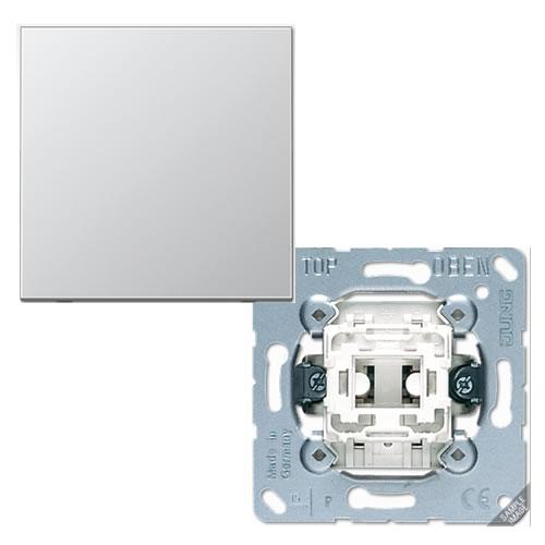 Jung LS990 Aluminium kruisschakelaar met drukknop