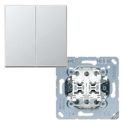 Jung Aluminium wissel wisselschakelaar met drukknop 509EU