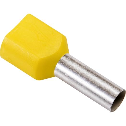 Twin eindaderhulzen geisoleerd 2x 6.0 mm 23.0 14.0 mm geel 100 stuks