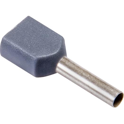 Twineindaderhulzen geisoleerd 2x 0.75 mm 15.0 8.0 mm grijs 100 stuks
