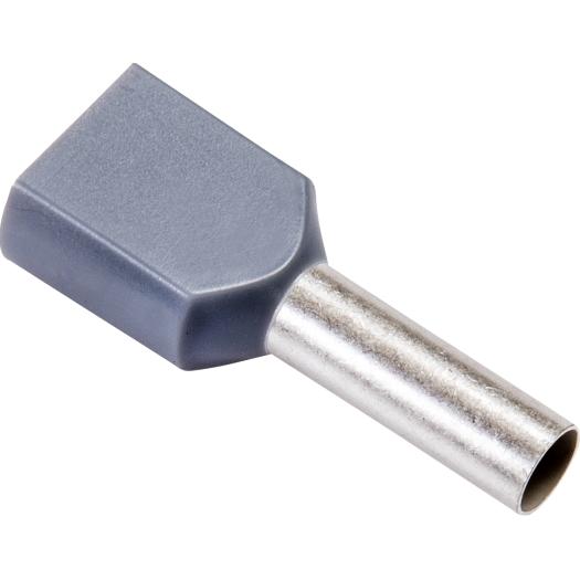 Twin eindaderhulzen geisoleerd 2x 4.0 mm 23.0 12.0 mm grijs 100 stuks