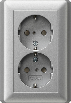 Dubbel stopcontact aluminium randaarde Gira