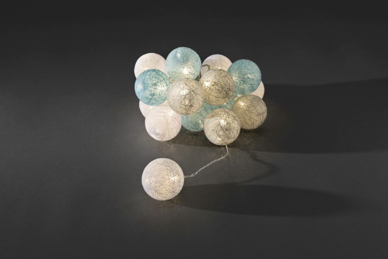LED decoratieve lichtsnoer gekleurde textielbollen 6cm