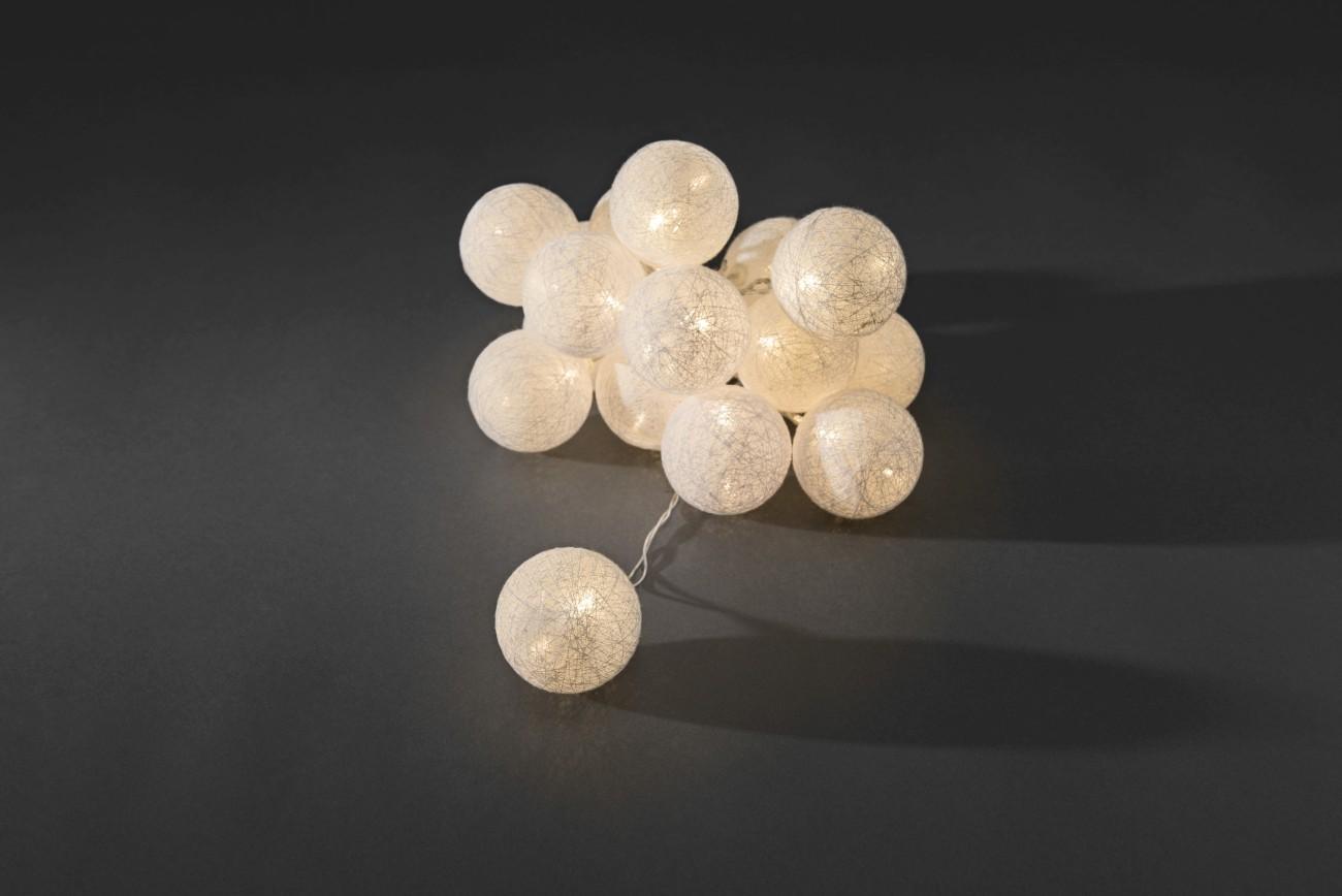 LED decoratieve lichtsnoer witte textielbollen 6cm