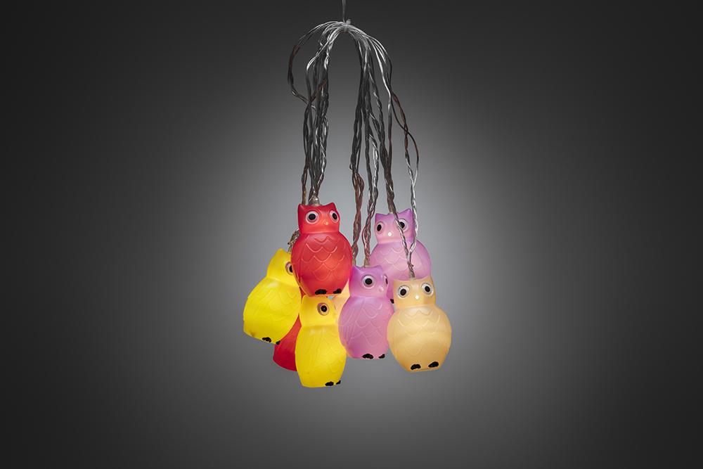 LED Decoratieve lichtsnoer, multicolor kunststof uilen, 1477-503