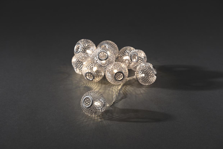 LED Decoratieve lichtsnoer met 10 zilveren metalen bolletjes, 3145-303