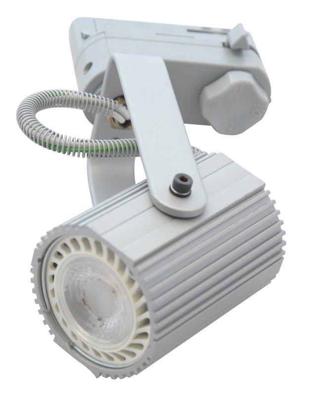 LED railspot wit armatuur met E27 of GU10 fitting voor 3 fase spannignsrail exc