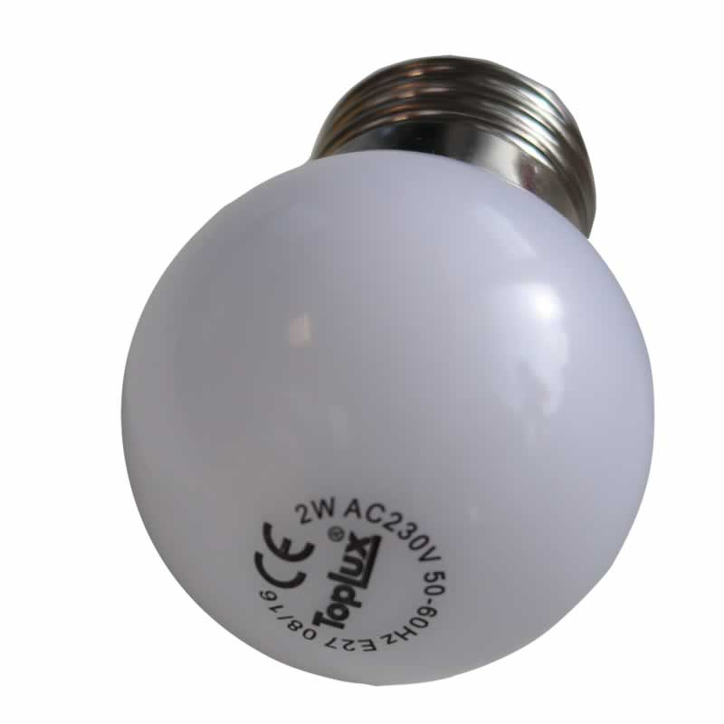 Witte led lamp e27 2w feestverlichting for Gekleurde led lampen e27