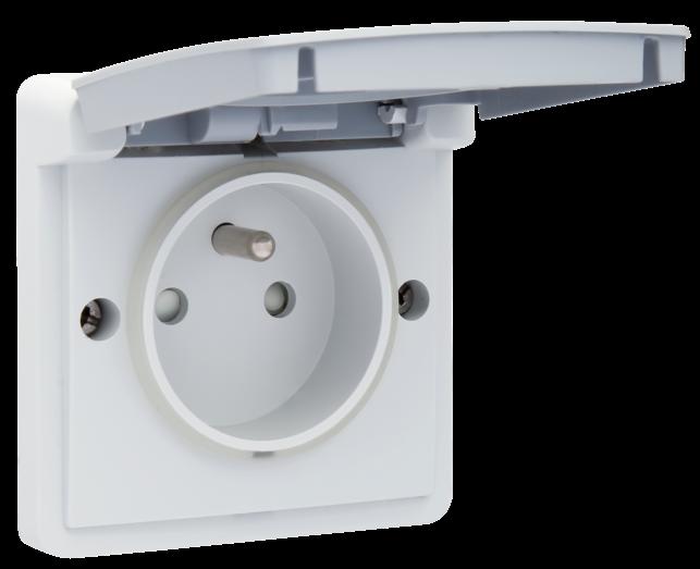 Niko Hydro waterdicht stopcontact 1 voudig met penaarde grijs