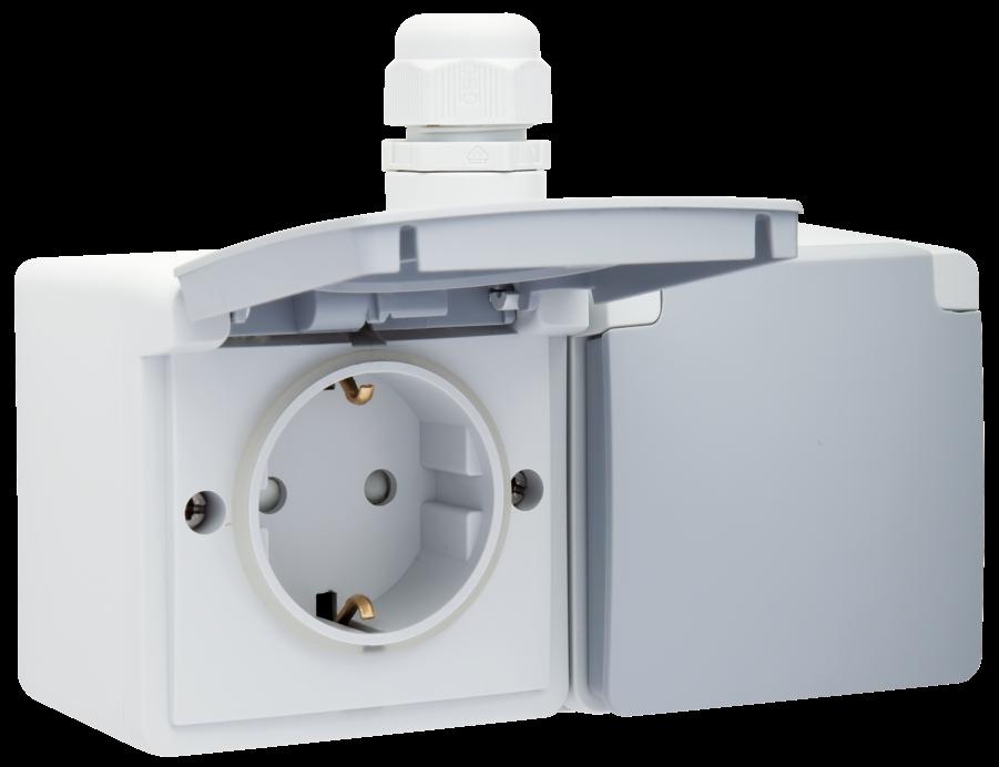 Niko Hydro stopcontact 2 voudig met randaarde horizontaal waterdicht grijs