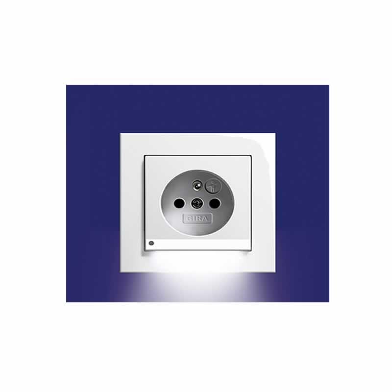 Gira stopcontact met witte LED verlichting zuiver wit mat