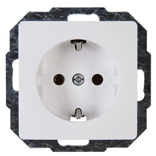 Wandcontactdoos met randaarde Kopp 923502002 1-voudig Inzetstuk Arctisch-wit