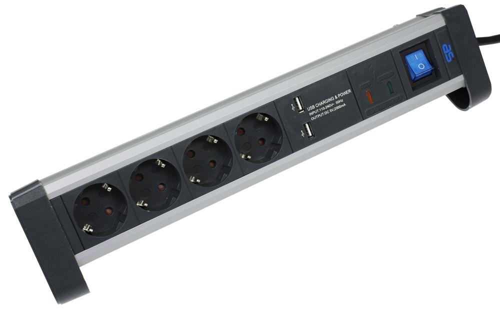 Buro stekkerdoos met 2 USB laders