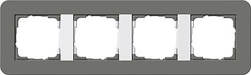 Gira afdekraam 4 voudig E3 donkergrijs-zuiverwit