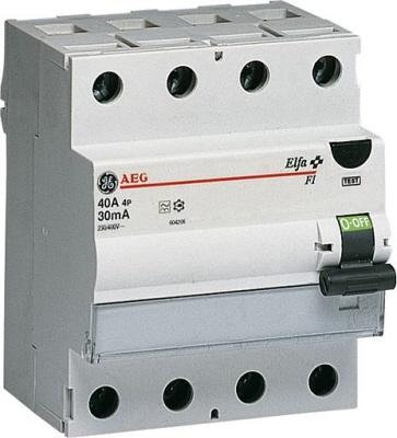 GE aardlekschakelaar 4 polig 40A 0,3A (300Ma) Type A
