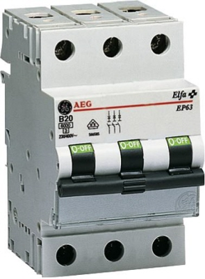 AEG installatie automaat 3 polig EP63 C karakteristiek C63 A