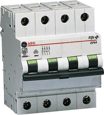 AEG installatie automaat 4 polig EP63 N C karakteristiek C25 A