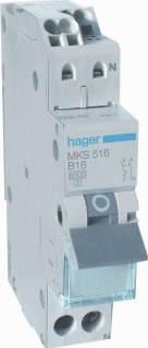 Hager MKS516 installatieautomaat 1p+N B16