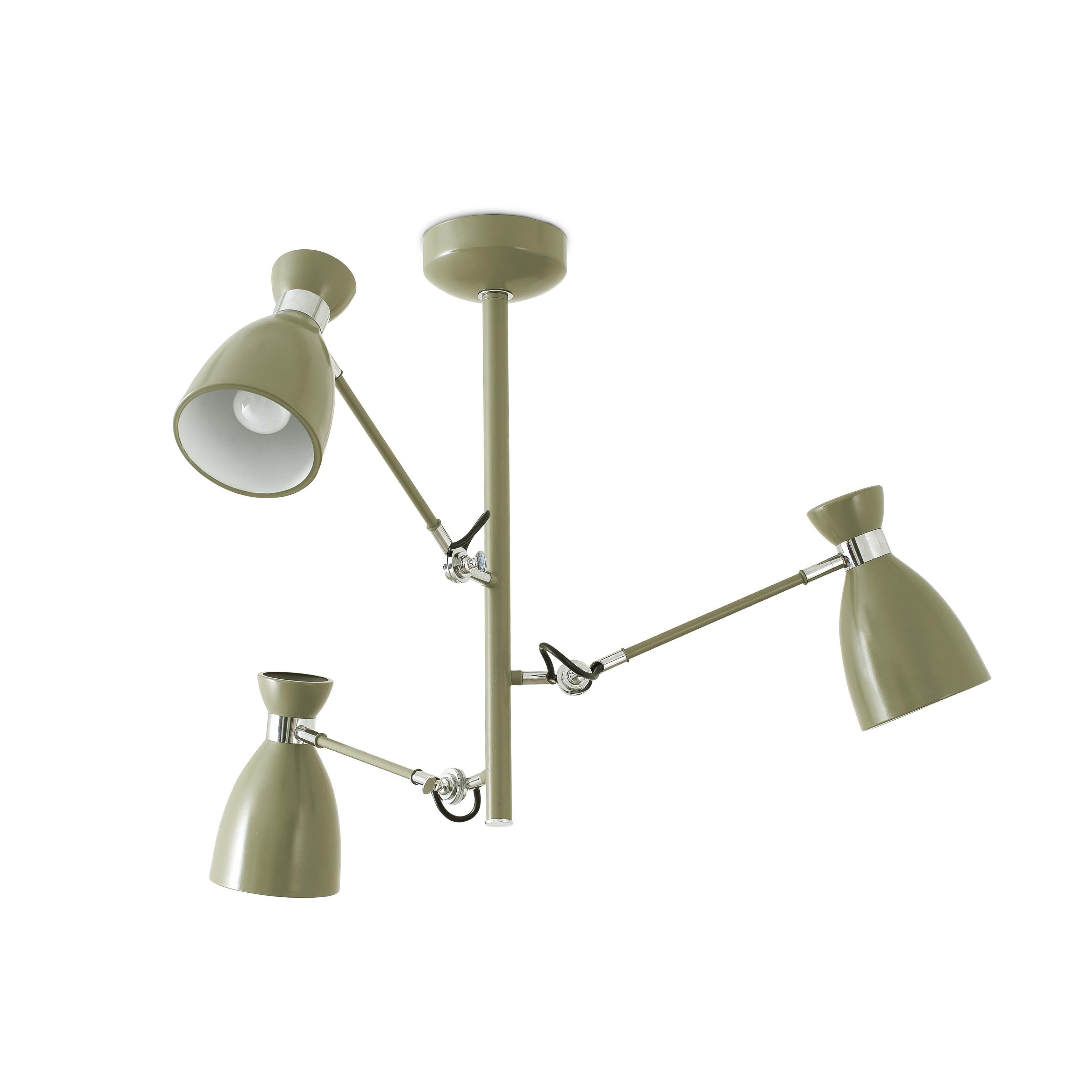 Hanglamp olijf groen retro design E14 3 armen 20007