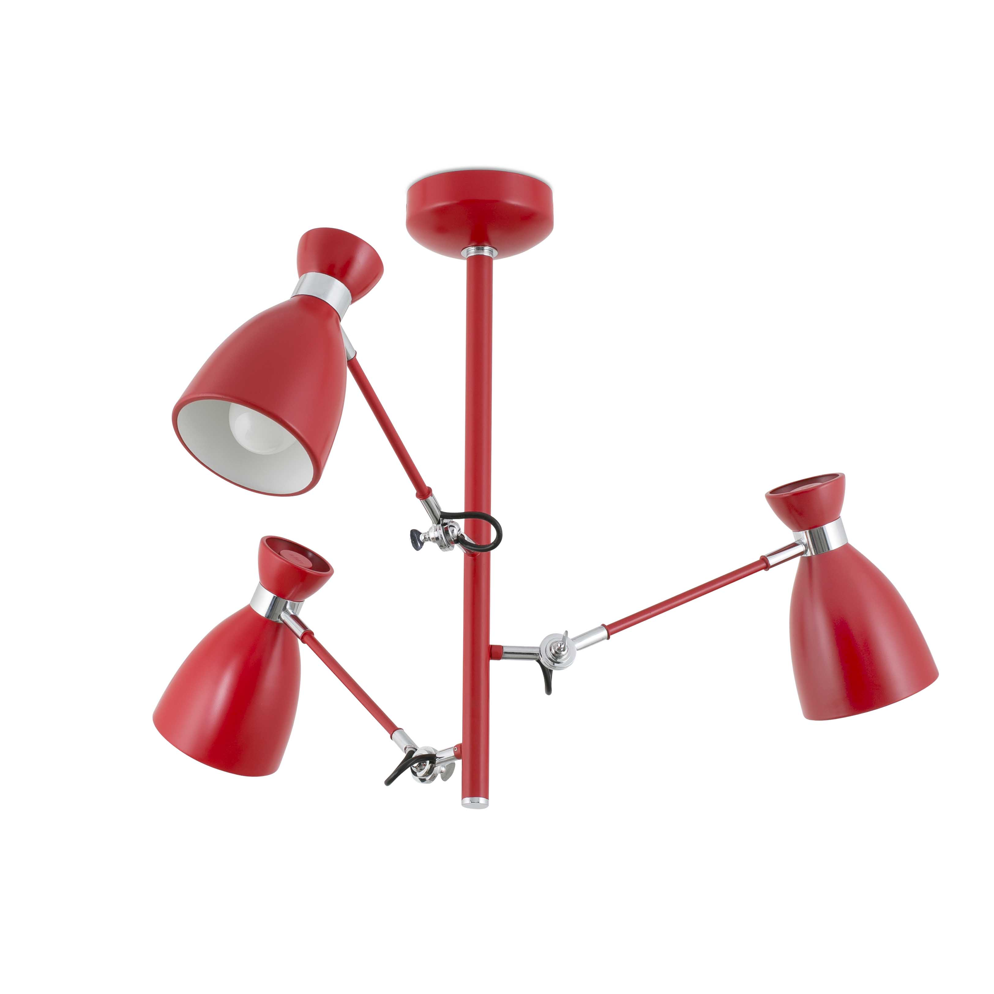Hanglamp rood retro design E14 3 armen 20008
