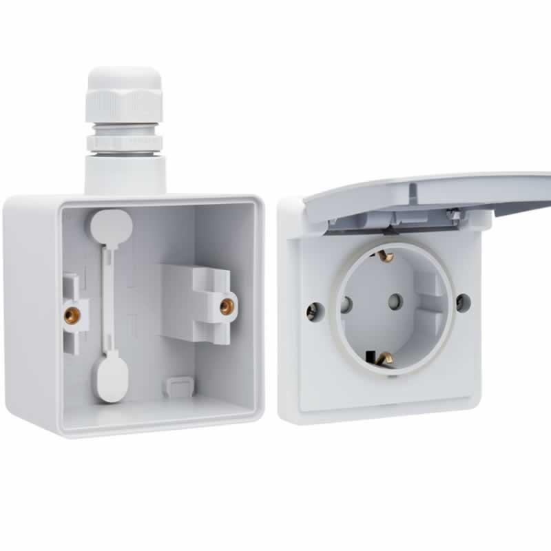 Niko Hydro waterdicht stopcontact enkel randaarde grijs compleet