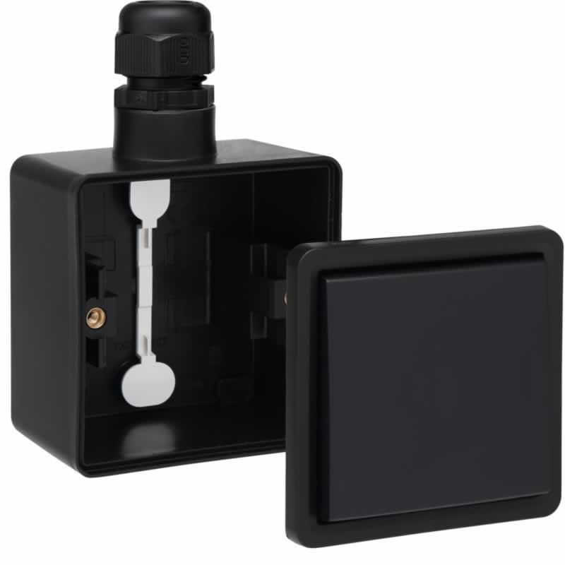 Niko Hydro wisselschakelaar waterdicht zwart compleet
