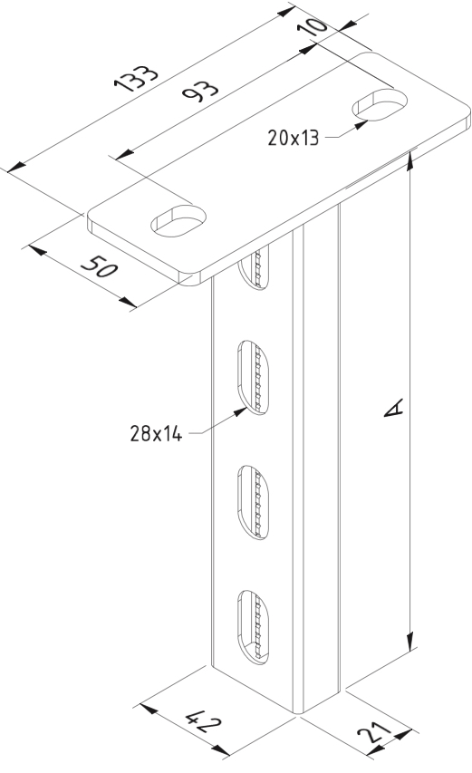 Plafondsteun Hangsteun P21 200mm thermisch verzinkt