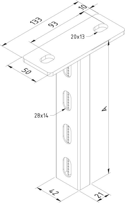 Image of Plafondsteun Hangsteun P21 500mm thermisch verzinkt