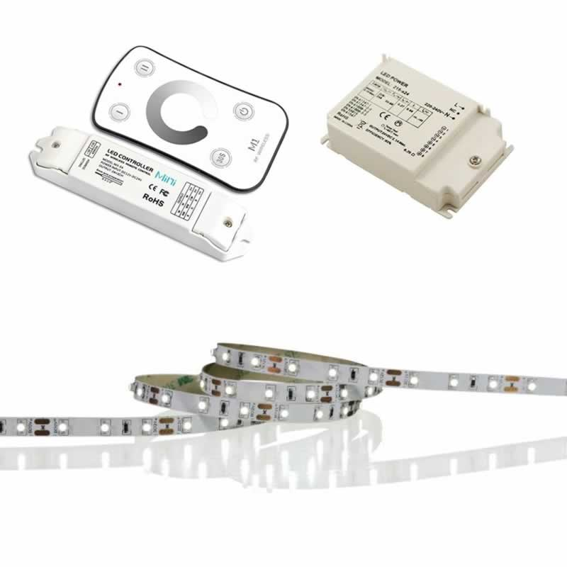 led strip 5m 2700k warm wit 12v en draadloze led dimmer. Black Bedroom Furniture Sets. Home Design Ideas