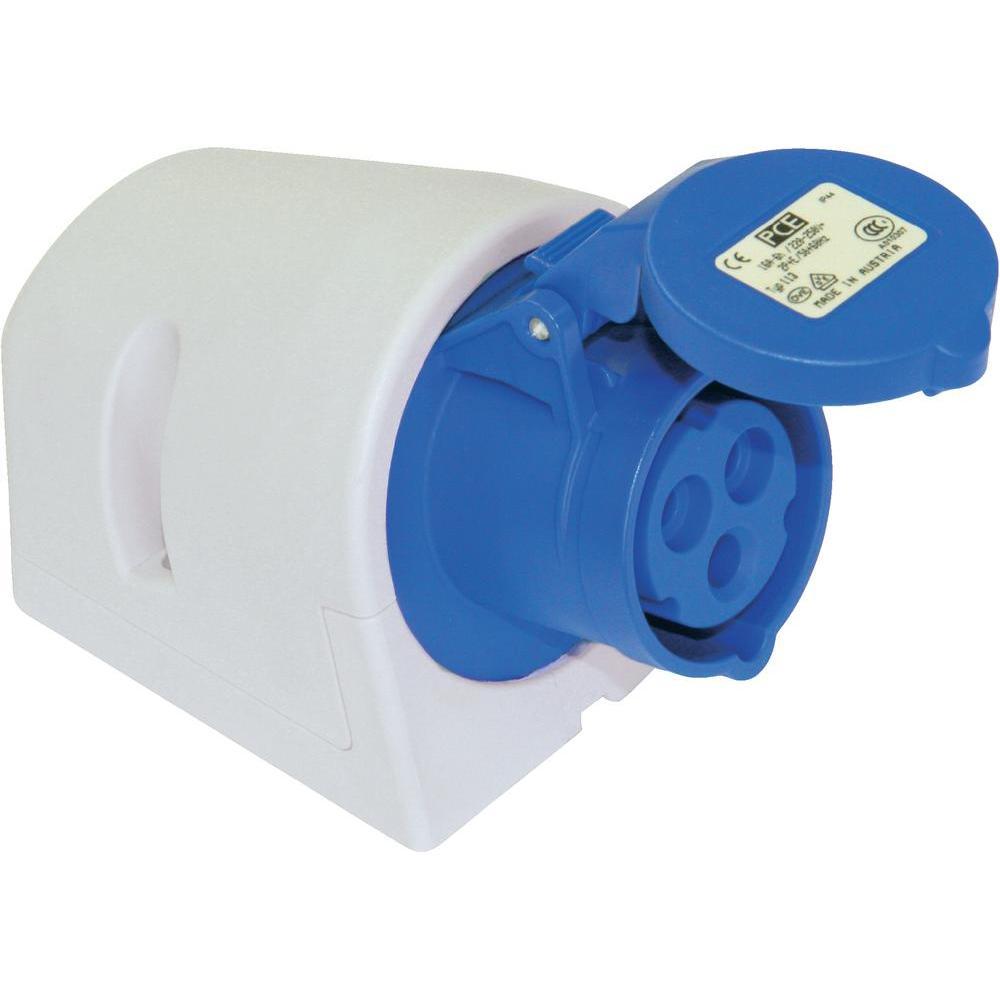 CEE Wandcontactdoos 32A 250V 3 polig IP44 Keraf blauw
