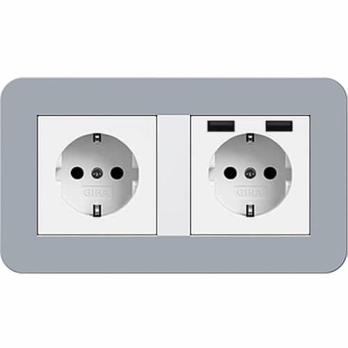 gira e3 dubbel stopcontact 2x usb blauwgrijs wit. Black Bedroom Furniture Sets. Home Design Ideas