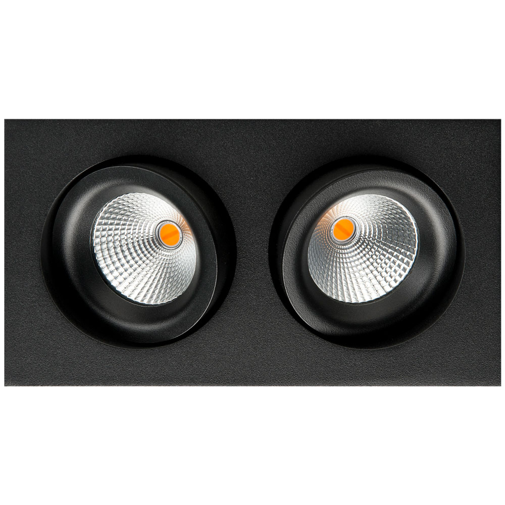 LED inbouwspot 1020 lumen 2x6W zwart draai en kantelbaar 2000 tot 2800K SG 90126