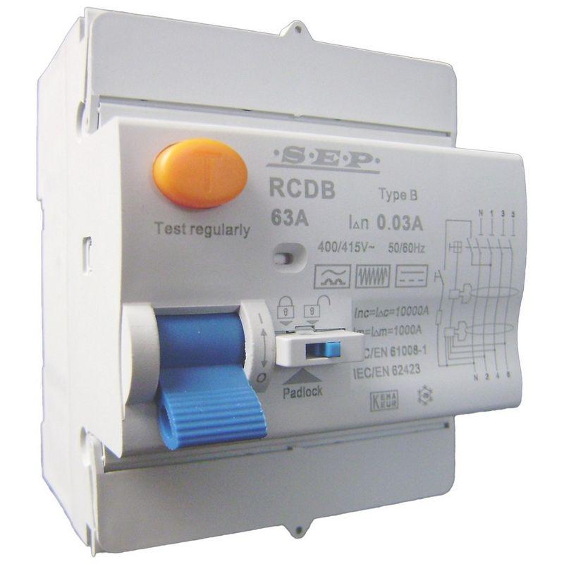 Aardlekschakelaar 3p+N 63A 30mA Type B 10 kA SEP RCD-B4063