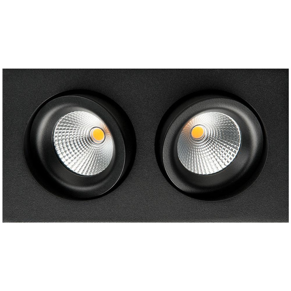 LED inbouwspot 2x 6W 2700K mat zwart draai en kantelbaar vierkant SG 902233