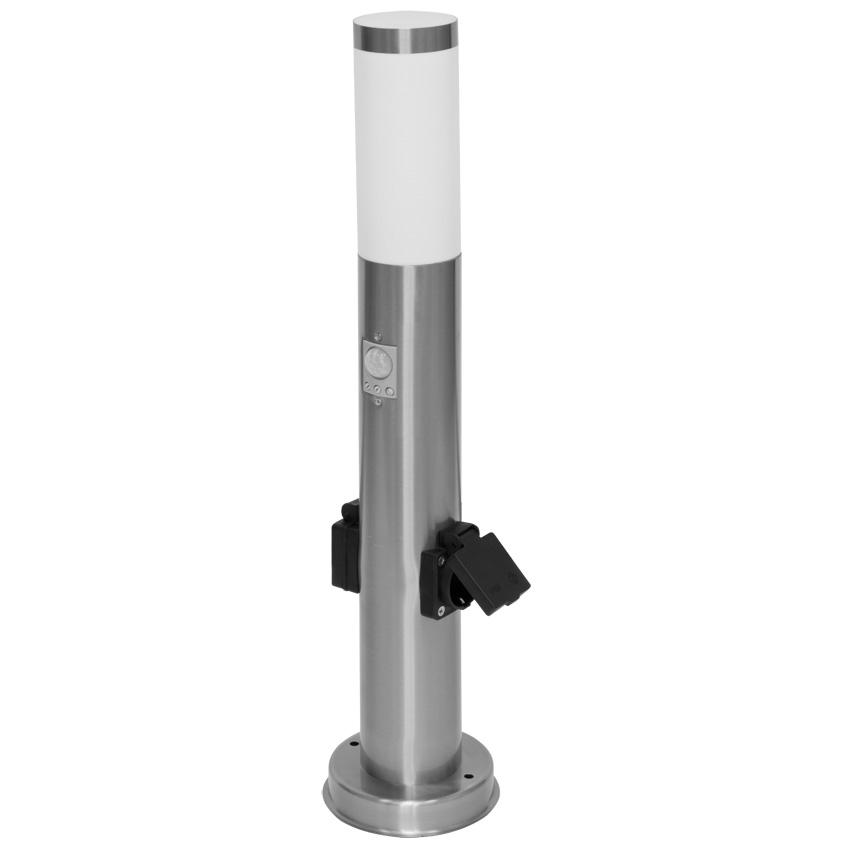 LED paal armatuur E27 IP54 sensor 2x stopcontact RVS 60 cm
