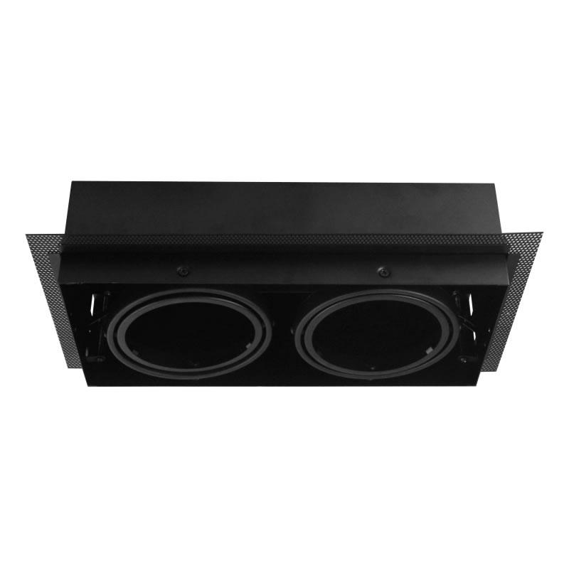 Zwart trimless armatuur inbouw 2 voudig voor LED spot 2xAR111 draaibaar en kante