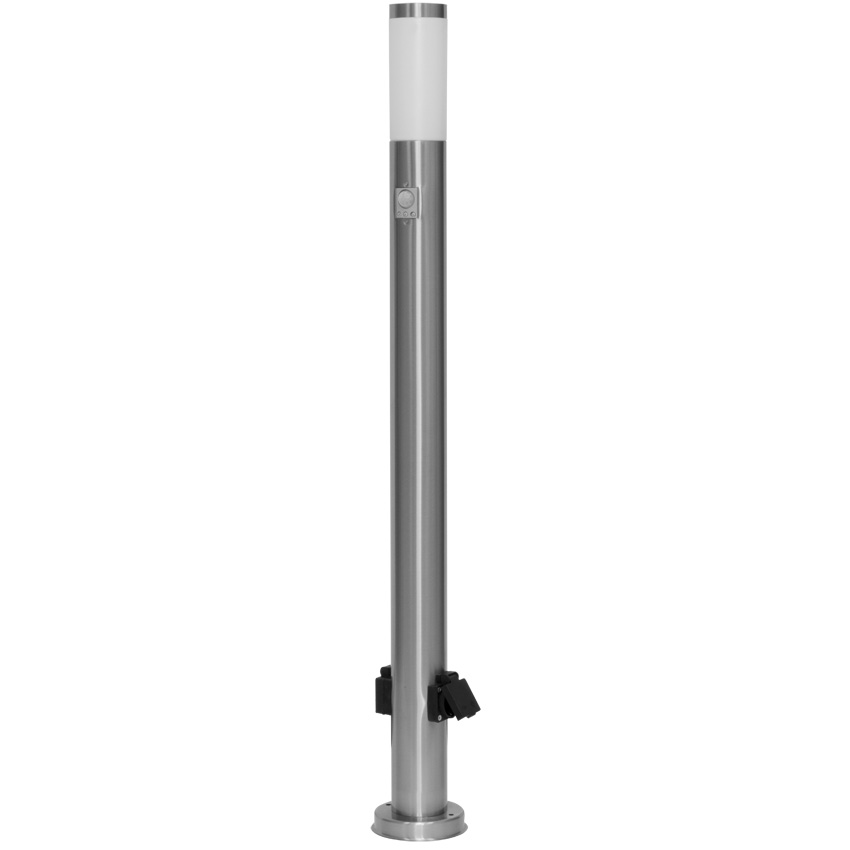 LED paal armatuur E27 IP54 sensor 2x stopcontact RVS 110 cm