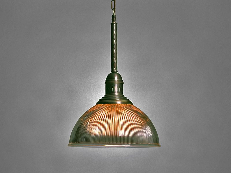 Hanglamp ribglas Salamanca 2 antiek messing