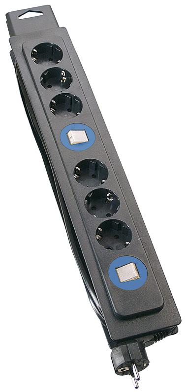 Schwabe Stekkerdoos zwart met schakelaar 2x 3-voudig 1.6 Meter 3x1,5 randaarde