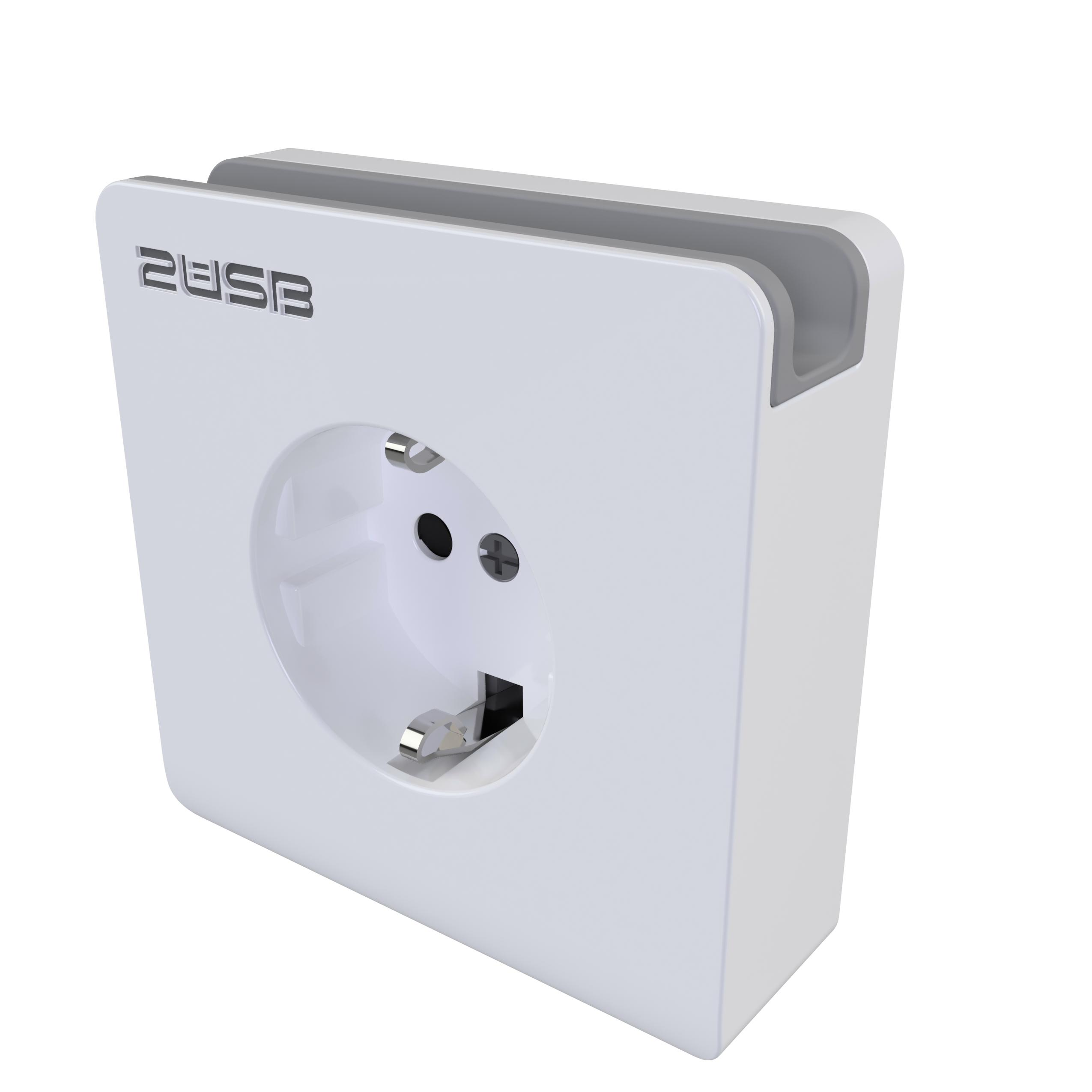 Stopcontact met USB lader en telefoonhouder 2 aansluitingen 2400mA wit