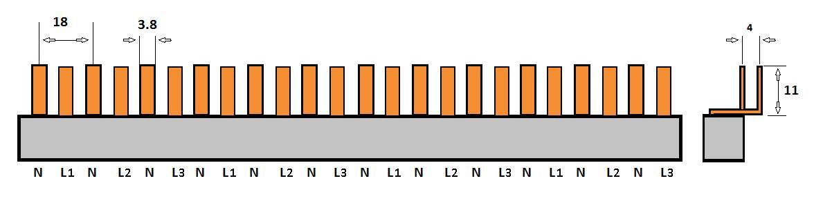 SEP Verdeelkam 3f+n pin 24 mod 9/18mm grijs P04024G20