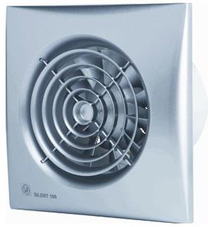 S P Silent 100 CRZ badkamerventilator met instelbare nalooptimer zilver
