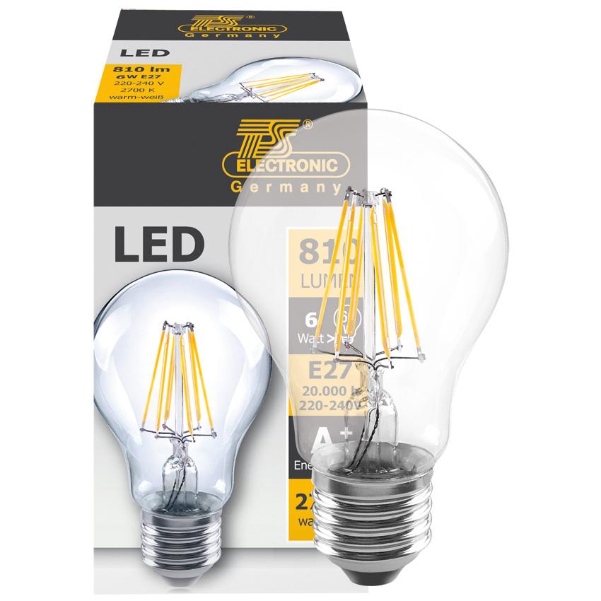 LED filament lamp 65W 810 lumen E27 2700K