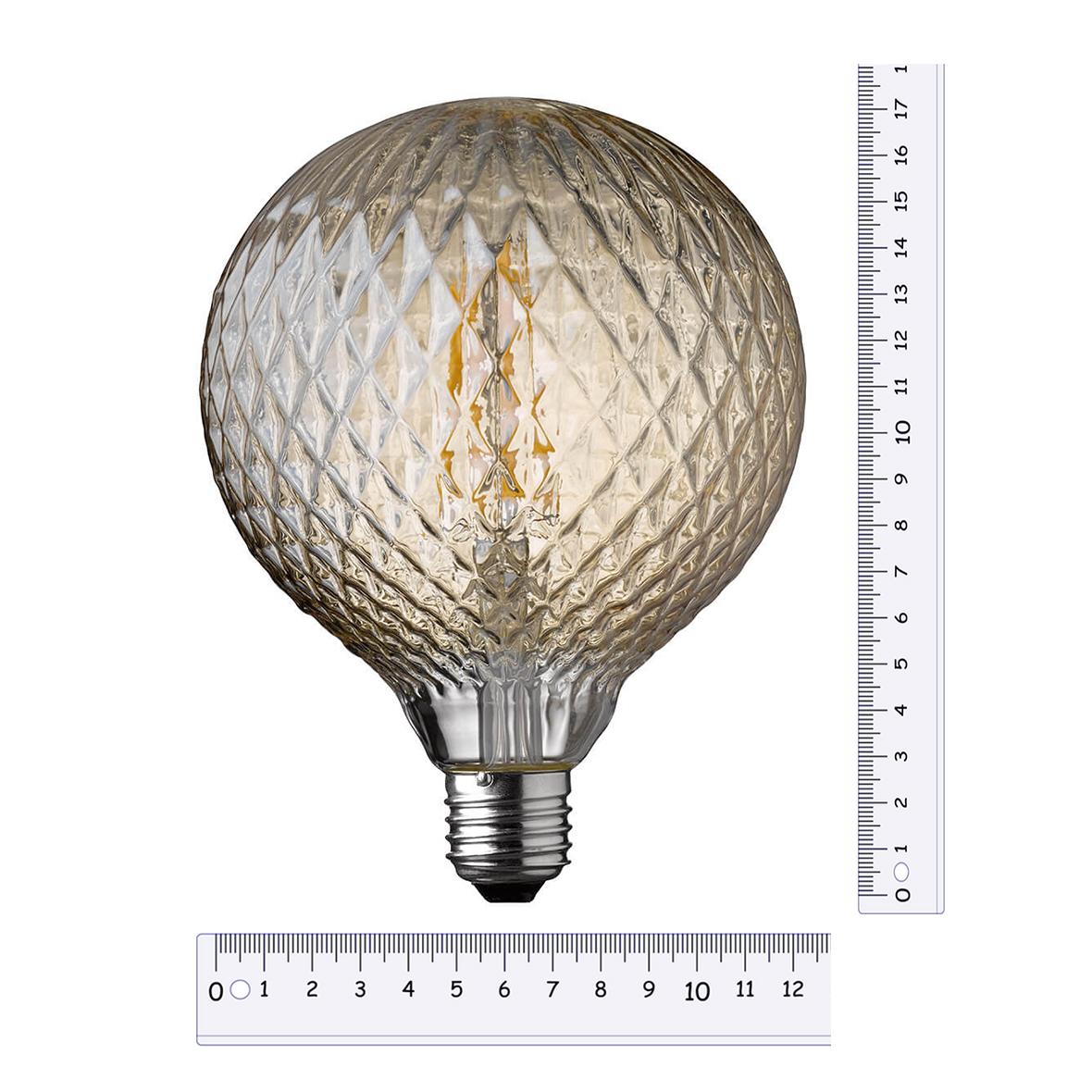Globe geribbeld getint glas met ruiten LED lamp 4W 300 lumen E27 1800K warm kaarslicht 17,5 cm hoog
